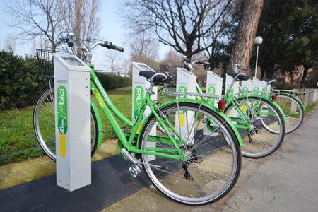 rimini: RIMINI, ITALY - FEBRUARY 16, 2014: Parking for bicycles in Rimini.