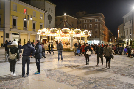 martiri: RIMINI, ITALY - FEBRUARY 16, 2014: The Piazza Tre Martiri in the historic part of Rimini at night. Editorial