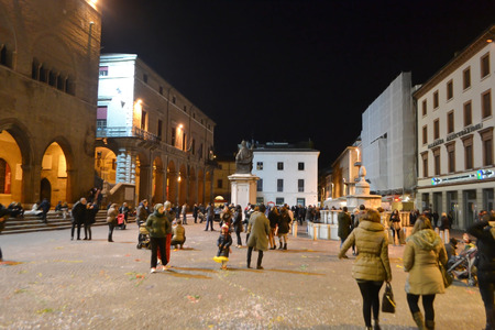 cavour: RIMINI, ITALY - FEBRUARY 16, 2014: Piazza Cavour at night, in the center of Rimini, Italy.