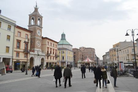 martiri: RIMINI, ITALY - FEBRUARY 19, 2014: The Piazza Tre Martiri in the historic part of Rimini.
