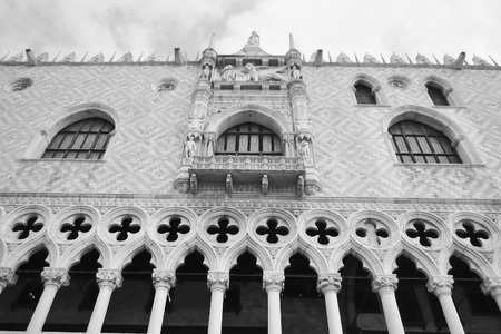 doges: Architectural detail of the Doges Palace (Palazzo Ducale) in Venice, Italy. Black and white. Editorial