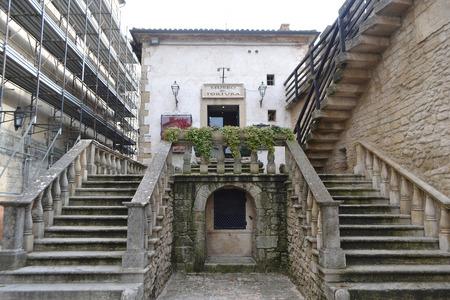 SAN MARINO, ITALY - FEBRUARY 21, 2014: Old stairs in San Marino republic, Italy. Editorial