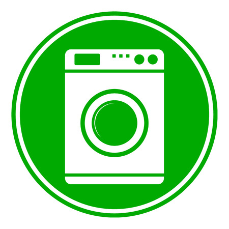consumer society: Washing machine button on white background. Vector illustration.