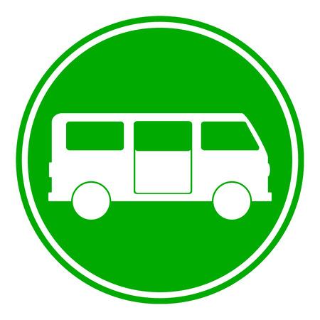 minibus: Minibus button on white background. Vector illustration.