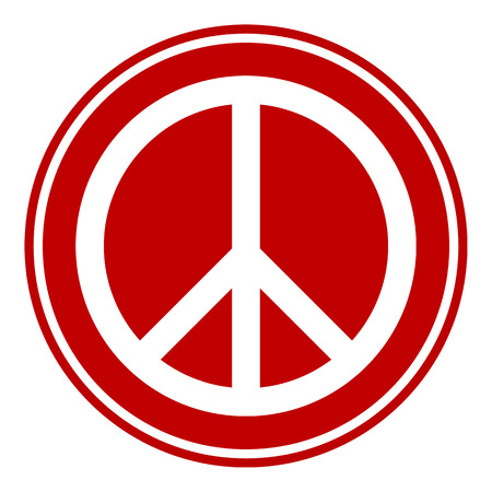 peace symbol: Peace symbol button on white background. Vector illustration.