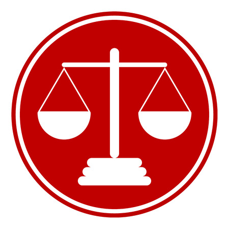 convicted: Scale button on white background. Vector illustration. Illustration