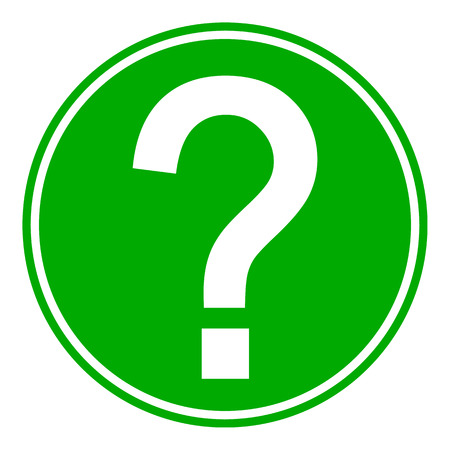 Question button on white background. Vector illustration. Stock Illustratie