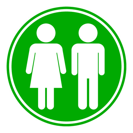 genders: Male and Female button on white background.  Illustration