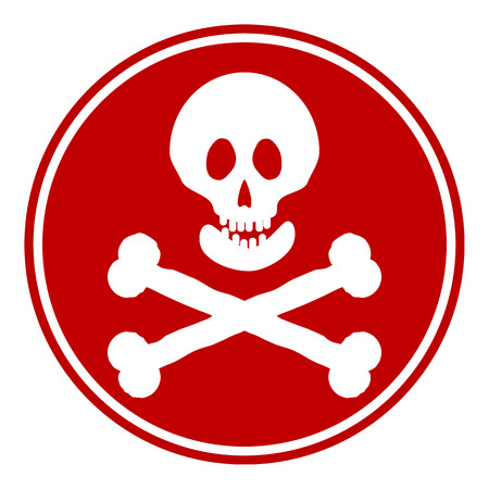 terribly: Skull and bones danger sign button on white background. Vector illustration.