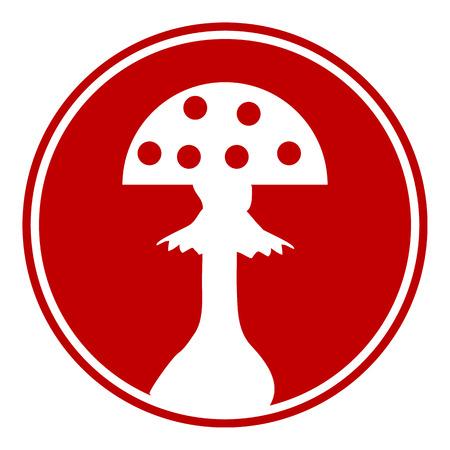 spores: Amanita button on white background. Vector illustration.