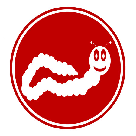 earthworm: Earthworm button on white background. Vector illustration.