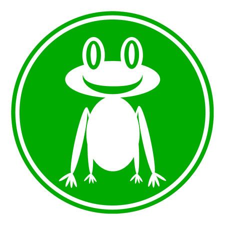 croaking: Frog button on white background. Vector illustration. Illustration