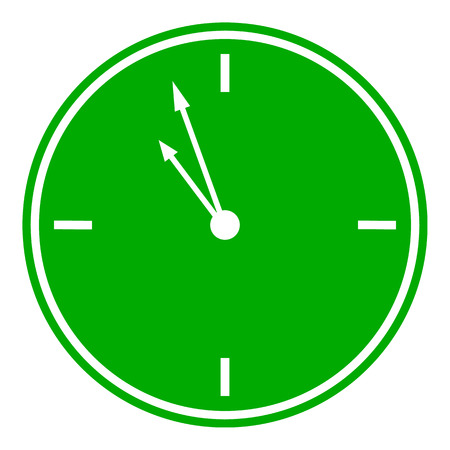 clockwise: Clock button on white background. Vector illustration.