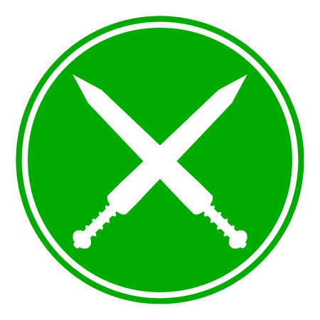 gladius: Crossed gladius swords button on white background. Vector illustration.