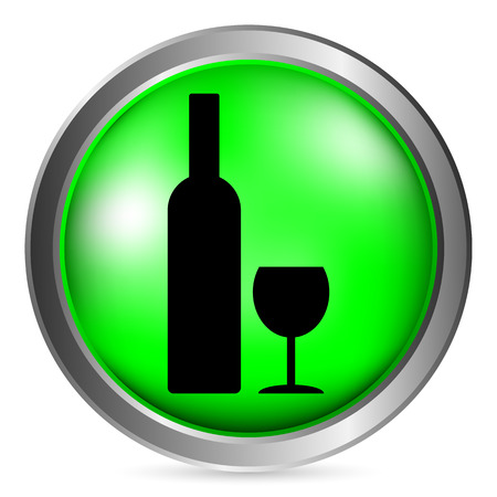 glasse: Bottle and glasse button on white background. Vector illustration.