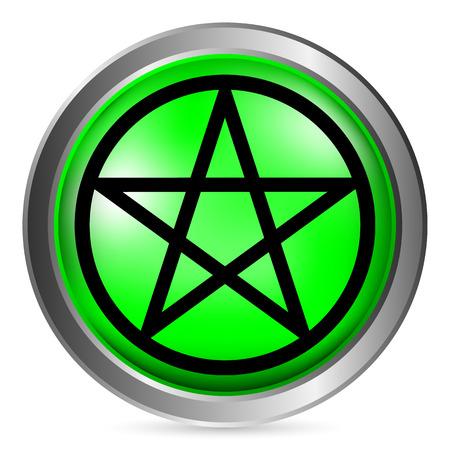 satanism: Pentagram button on white background. Vector illustration. Illustration