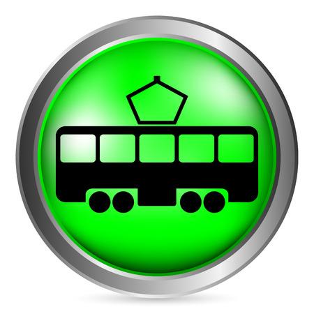 Tram button on white background. Vector illustration.