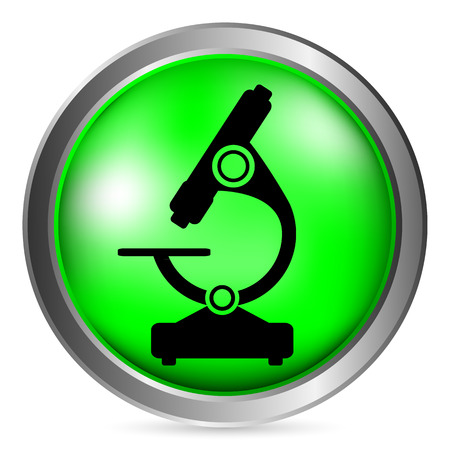 bacteria microscope: Microscope button on white background. Vector illustration. Illustration