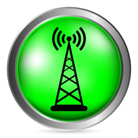 satellite transmitter: Transmitter button on white background. Vector illustration.