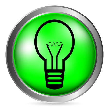metal light bulb icon: Light bulb button on white background. Vector illustration. Illustration