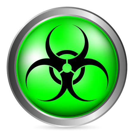 the bacteria signal: Biohazard sign button on white background. Vector illustration.