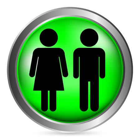 Mannelijke en Vrouwelijke knop op witte achtergrond. Vector illustratie.