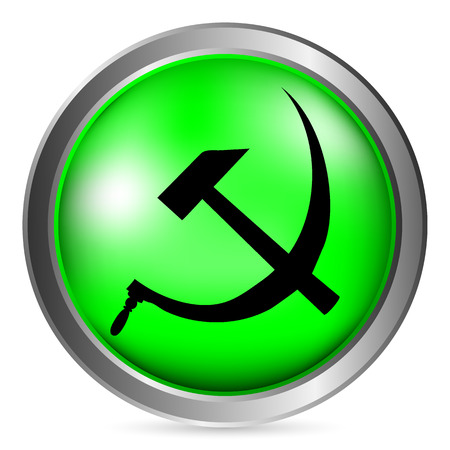 sickle: Hammer and sickle sign button on white background. Vector illustration. Illustration