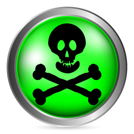 toxicant: Skull and bones danger sign button on white background. Vector illustration.