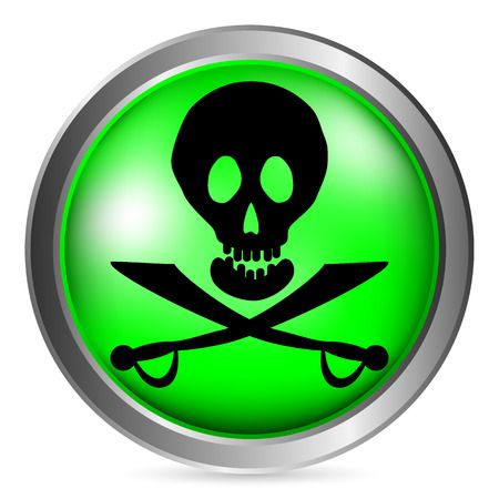 roger: Jolly Roger sign button on white background. Vector illustration.