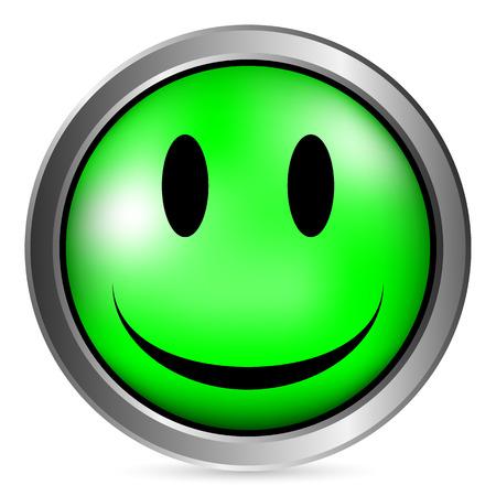 Smile gezicht cirkel knop op witte achtergrond. Vector illustratie.