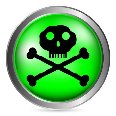 terribly: Skull and bones danger sign button on white background. Vector illustration.