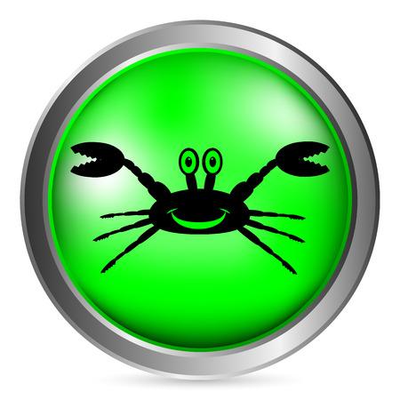 arthropoda: Crab button on white background. Vector illustration.