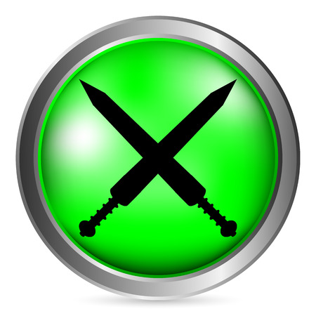 longsword: Crossed gladius swords button on white background. Vector illustration.