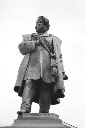 Statue of Daniele Manin in Venice, Italy. Black and white. Editorial