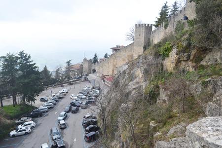 san marino: Fortress on a cliff in San Marino.