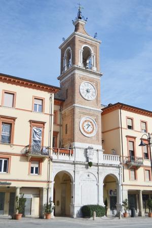 rimini: Old medieval Clock Tower in Rimini, Italy. Editorial