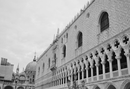 doges: Architectural detail of the Doges Palace (Palazzo Ducale) in Venice, Italy. Black and white. Stock Photo