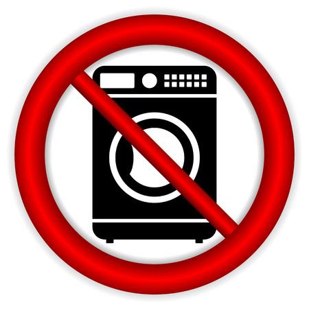 front loading: No washing machine icon on white background. Illustration