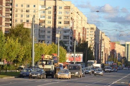 outskirts: St. Petersburg, Russia - September 27, 2014: Shlisselburgsky avenue, outskirts of St. Petersburg, Russia.