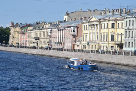 pleasure craft: St.Petersburg, Russia - August 1, 2014: View of the Fontanka River in St.Petersburg, Russia. Editorial
