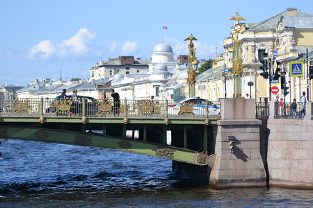 piter: St.Petersburg, Russia - August 1, 2014: Bridge over the Fontanka River at sunny summer day. Editorial