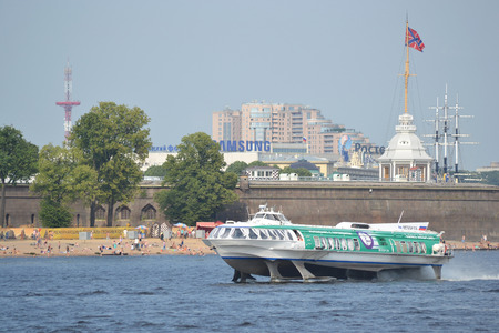 ST.PETERSBURG, RUSSIA - JULY 29, 2014: Meteor, hydrofoil boat on the Neva River in the center of St. Petersburg.