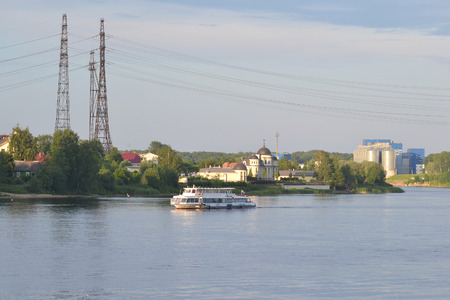 outskirts: View of Neva River, outskirts of St. Petersburg, Russia. Stock Photo