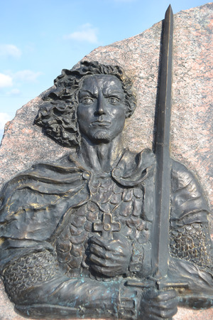 Monument to Alexander Nevsky, Leningrad Region, Russia. Prince Alexander Nevsky - Russian general and politician of the 13th century.
