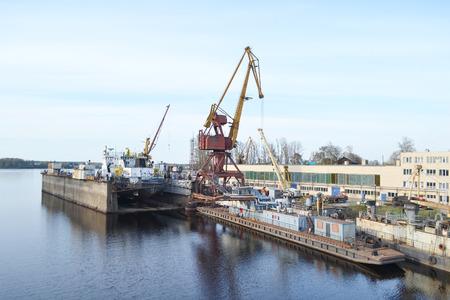shipyard: Shipyard on the Neva river, Otradnoe town, Leningrad Region, Russia.
