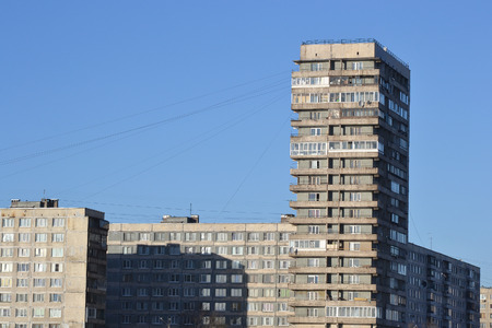 outskirts: View of building on October Embankment, outskirts of St. Petersburg, Russia.