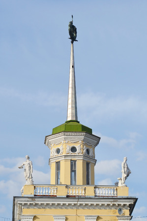 stalin empire style: The building is in the style of Stalin in Kolpino, outskirts of St. Petersburg, Russia. Stock Photo