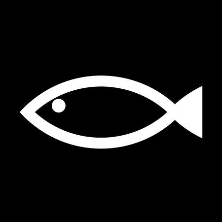 fishy: Fish icon on black background. Vector illustration.