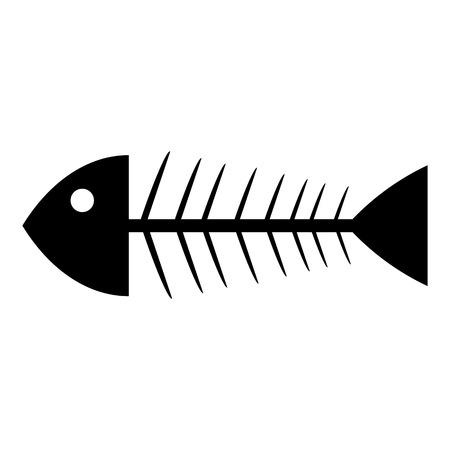 Skeleton of fish icon on white background. Vector illustration.