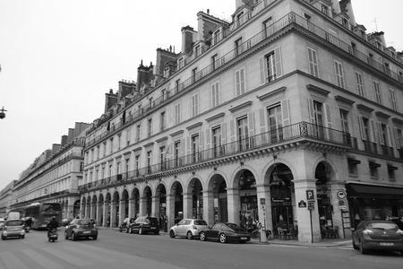 rivoli: PARIS, FRANCE - JANUARY 5, 2013: Rue de Rivoli in center of Paris. Black and white.